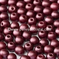 50 SMOOTH ROUND BEADS 4MM PASTEL BURGUNDY 02010-25031