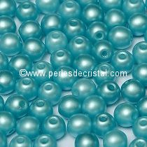 50 SMOOTH ROUND BEADS 4MM PASTEL AQUAMARINE / BLUE - 02010/25019