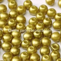 50 PERLES RONDES LISSES 4MM PASTEL LIME / VERT-JAUNE - 02010/25021