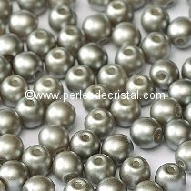 50 PERLES RONDES LISSES 4MM PASTEL LIGHT GREY SILVER / GRIS-ARGENT - 02010/25028