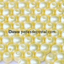 50 PERLES RONDES LISSES 4MM PASTEL LIGHT CREAM / BEIGE CLAIR - 02010/25110