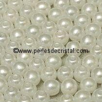 50 PERLES RONDES LISSES 4MM PASTEL WHITE / BLANC - 02010/25001