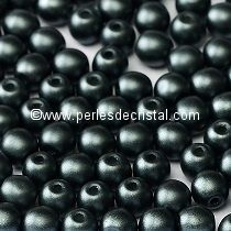 50 SMOOTH ROUND BEADS 4MM PASTEL DARK GREY HEMATITE - 02010/25037