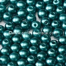 50 SMOOTH ROUND BEADS 4MM PASTEL EMERALD / GREEN - 02010-25043