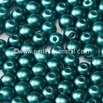 50 PERLES RONDES LISSES 4MM PASTEL EMERALD / VERT - 02010-25043