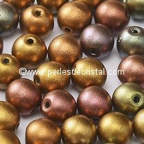 50 SMOOTH ROUND BEADS 4MM CRYSTAL GOLD RAINBOW - METALLIC MIX - 00030/01610
