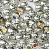 50 SMOOTH ROUND BEADS 4MM CRYSTAL VOLCANO - 00030/29942