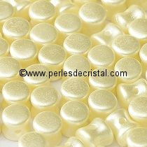 50 PELLETS / DIABOLO 4X6MM EN VERRE COLORIS PASTEL LIGHT CREAM - BEIGE CLAIR 25110
