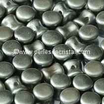 50 PELLETS / DIABOLO 4X6MM EN VERRE COLORIS PASTEL LIGHT GREY SILVER - GRIS ARGENT - 25028