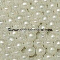 1200 SMOOTH ROUND BEADS 4MM PASTEL WHITE / BLANC - 02010/25001