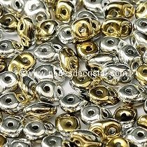 10GR SUPERDUO 2.5X5MM GLASS COLOURS JET CALIFORNIA SILVER 23980/98550