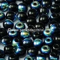 50 SMOOTH ROUND BEADS 4MM JET AB 23980/28701 - BLACK AB