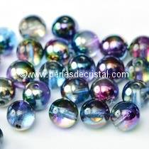 50 PERLES RONDES LISSES 4MM CRYSTAL MAGIC BLUE 00030/95100