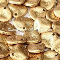50 ROSE PETALS 8X7MM EN VERRE COLORIS LIGHT GOLD MAT - DORE - OR 01710