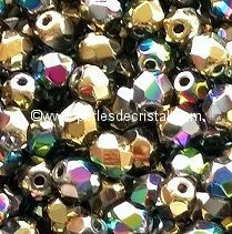 50 BOHEMIAN GLASS FIRE POLISHED FACETED ROUND BEADS 4MM CALIFORNIA BLOOMING - 00030/98546