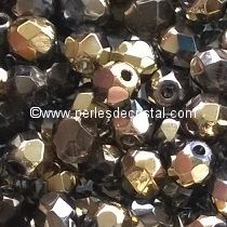 50 BOHEMIAN GLASS FIRE POLISHED FACETED ROUND BEADS 4MM CALIFORNIA NIGHT - 00030/98543