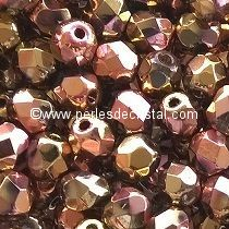 50 BOHEMIAN GLASS FIRE POLISHED FACETED ROUND BEADS 3MM CALIFORNIA PINK 00030/98544