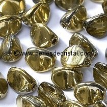 50 PINCH 5X3MM EN VERRE COLORIS CRYSTAL AMBER - 00030/26441 DORE - OR