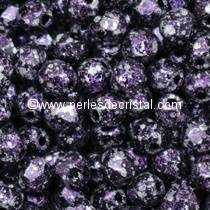 50 BOHEMIAN GLASS FIRE POLISHED FACETED ROUND BEADS 4MM TWEEDY PURPLE 23980/45710