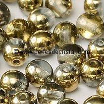 50 PERLES RONDES LISSES 4MM CRYSTAL AMBER 00030/26441 - DORE - OR - GOLD