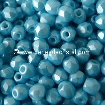 50 BOHEMIAN GLASS FIRE POLISHED FACETED ROUND BEADS 3MM COLOURS PASTEL AQUAMARINE 02010/25019