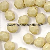 50 BOHEMIAN GLASS FIRE POLISHED FACETED ROUND BEADS 4MM COLOURS OPAQUE BEIGE 13020