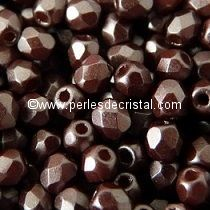 50 BOHEMIAN GLASS FIRE POLISHED FACETED ROUND BEADS 4MM COLOURS PASTEL DARK BROWN BRONZE 02010/25036