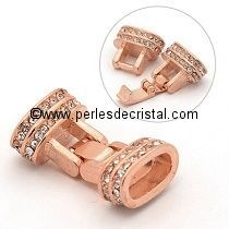 Fermoir à clips, rectangle avec strass coloris ROSE - GOLD 25X14X8MM