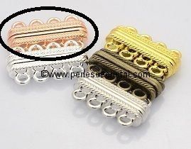 Beautiful magnetic clasp to 4 rows colors PINK / GOLD 30X17X7