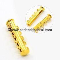 Fermoir magnétique / aimanté et coulissant à 5 rangs coloris DORE / OR / GOLD - 31X5MM