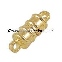 Fermoir magnétique / aimanté en forme de tube coloris DORE / OR / GOLD - 16X6MM