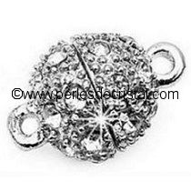 Beautiful magnetic clasp, ball, rhinestones - color SILVER - 17x12MM