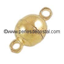 Fermoir magnétique / aimanté en forme de petite boule - coloris DORE / OR / GOLD - 11.5X6MM