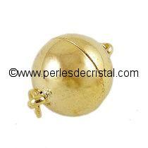 Fermoir magnétique / aimanté en forme de boule - coloris DORE / OR / GOLD - 16X10MM