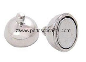 Fermoir magnétique / aimanté en forme de boule - coloris ARGENT / SILVER - 16X10MM