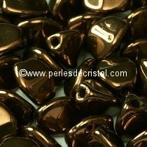 50 PINCH 5X3MM EN VERRE COLORIS JET BRONZE / DARK BRONZE - 23980/14415