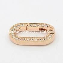 Fermoir ovale avec strass ouverture mousqueton coloris ROSE - GOLD 20X9MM