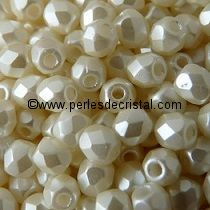 50 BOHEMIAN GLASS FIRE POLISHED FACETED ROUND BEADS 3MM COLOURS PASTEL LIGHT CREAM OFF WHITE - 02010/25110