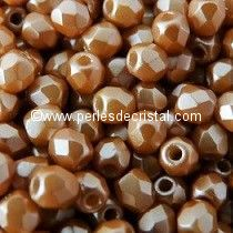 50 BOHEMIAN GLASS FIRE POLISHED FACETED ROUND BEADS 4MM COLOURS PASTEL AMBER 02010/25003