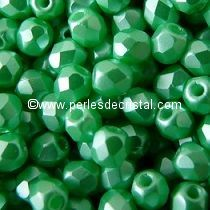 50 BOHEMIAN GLASS FIRE POLISHED FACETED ROUND BEADS 4MM COLOURS PASTEL LIGHT GREEN / CHRYSOLITE 02010/25025