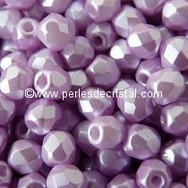 50 BOHEMIAN GLASS FIRE POLISHED FACETED ROUND BEADS 4MM COLOURS PASTEL LIGHT LILA 02010/25011