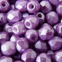 50 BOHEMIAN GLASS FIRE POLISHED FACETED ROUND BEADS 4MM COLOURS PASTEL LILA 02010/25012 - PURPLE