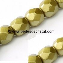 50 BOHEMIAN GLASS FIRE POLISHED FACETED ROUND BEADS 4MM COLOURS PASTEL LIME 02010/25021 - GREEN