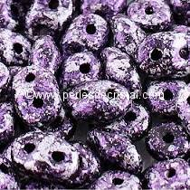 10GR SUPERDUO 2.5X5MM GLASS COLOURS TWEEDY VIOLET 23980/45710 PURPLE