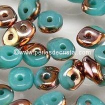 10GR SUPERDUO 2.5X5MM GLASS COLOURS OPAQUE BLUE TURQUOISE CAPRI GOLD 63030/27101