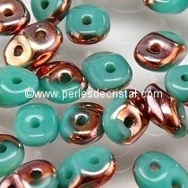 10GR SUPERDUO 2.5X5MM GLASS COLOURS OPAQUE GREEN TURQUOISE CAPRI GOLD 63130/27101