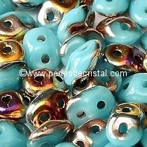 10GR SUPERDUO 2.5X5MM GLASS COLOURS OPAQUE BLUE TURQUOISE SLIPERIT 63030/29500