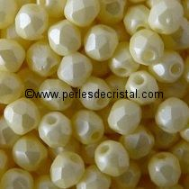 50 BOHEMIAN GLASS FIRE POLISHED FACETED ROUND BEADS 4MM COLOURS YELLOW PEARL 02010/29301