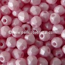 50 BOHEMIAN GLASS FIRE POLISHED FACETED ROUND BEADS 4MM COLOURS PINK PEARL 02010/29305