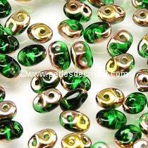 10GR SUPERDUO 2.5X5MM EN VERRE COLORIS GREEN CAPRI GOLD 50050/27101